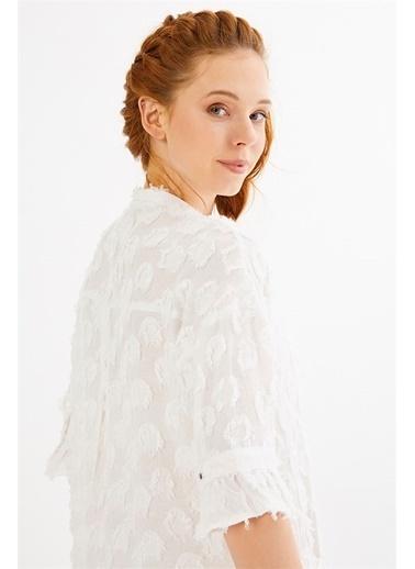 Just like you Önden Düğmeli Midi Elbise Beyaz